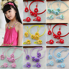 5PCS New Cute Flower Pearl Girls Children Elastic Hair Rope Headband Hairpin Hot