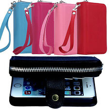 Faux Leather Zipper Card Wallet Purse Phone Case Cover Skins for iPhone Amusing