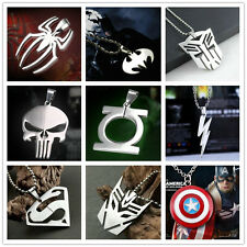 Men's Super Hero Marvel Ring Batman Bead Chain Pendant Stainless Steel Necklace