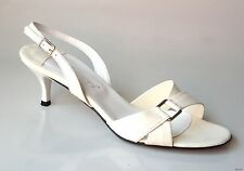 new Versani 922 ivory leather open-toe slingback sandals Shoes made in Italy