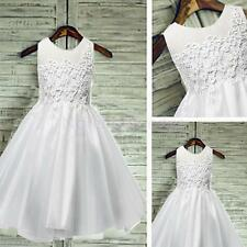 Princess Lace Mesh Bridesmaid Flower Girl Dress Wedding Party Prom Pageant