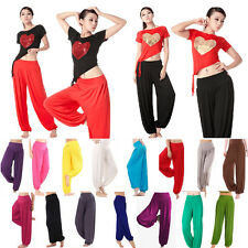 Ladies Harem Genie Dance Yoga Pants Aladdin Hippie Baggy Gypsy Wide Leg Trousers