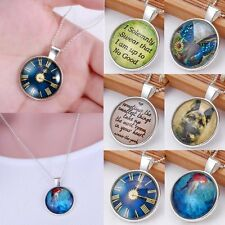 Fashion Vintage Time Gem Clock Butterfly Photo Art Pendant Necklace Jewelry Gift
