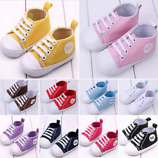 0-12 Infant Baby Toddler Sneakers Boy Girl Canvas Soft Sole Anti-slip Crib Shoes