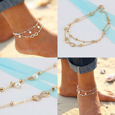 New Sexy Women Double Chain Anklet Bracelet Barefoot Sandal Beach Foot Jewelry