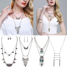 Charming Vintage Lots Style Turquoise Tassel Long Chain Pendant Necklace Jewelry