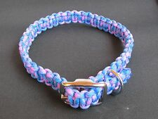Cotton Candy #3 Adjustable Dbl. Bar Buckle Paracord Dog Collar - 6 Sizes