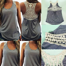Summer New Fashion Women Lace Vest Top Sleeveless Casual Tank Blouse Top T-Shirt