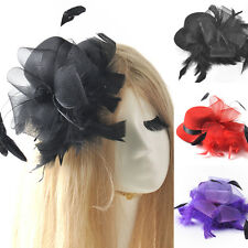 women handmade mini top hat feather fascinator hair clips burlesque party races