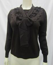 NWT Nancy Yang NY Brown Knit Sweater top Lace & Ruffle Detail Sz M  20198RM