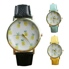 Women's Leather Band Stainless Steel Analog Quartz Vogue Wrist Watch Pineapple