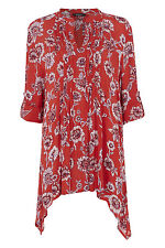 Roman Originals Women's Floral Pin Tuck Blouse Red Sizes 10-20