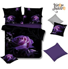 New King/Queen/Double/Single Bed Doona/Duvet Cover Set Pillowcases Purple Rose