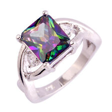 Noble Rainbow & White Topaz Gemstones Silver Ring Emerald Cut Size 6 7 8 9 10 11