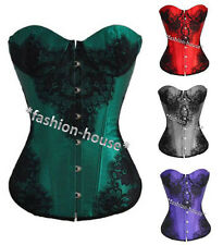 New Sexy Satin Fashion Gorgeous Boned Lace Up Corset Bustier Top Shapewear--1204