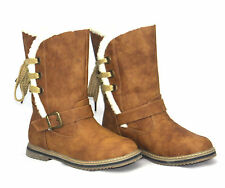 Womens Ladies Faux Sheepskin Lining Mid Calf Riding Warm Winter Boots Shoes New