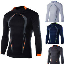 Mens Slim Fit Cotton Shirts Quick-drying Long Sleeve Casual T-Shirt Muscle Tee