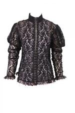 WHITBY VICTORIAN GOTHIC STEAMPUNK  LADIES BLACK LACE  BLOUSE TOP  14 16 18