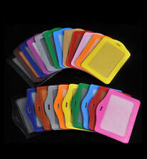 Vertical & Horizontal ID Card Badge Holder PU Leather Case Lanyard Multi color