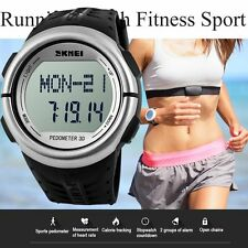 Men Women Pedometer Fitness Running Sport Digital Heart Rate Monitor Wrist Watch