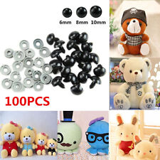 100PCS 6/8/10mm Black Plastic Safety Eyes DIY For Teddy Bear/Dolls /Felting Toy