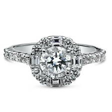 BERRICLE Sterling Silver Round Cut CZ Halo Art Deco Engagement Ring 1.96 Carat