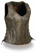 Womens Brown Leather Motorcycle Vest Sleeveless Open Neck Low Cut Biker