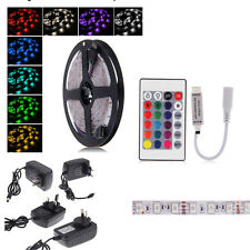 5M RGB 5050 Non-Waterproof Color change LED Strip light+controller Power Adapter