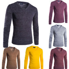 Fashion Mens Casual Pullover Knit Shirt V-neck Sweater Long Sleeve T-shirt Tee C