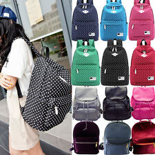 Canvas Backpack Polka Dot Leather School Shoulder Bag Teenage Travel Rucksacks