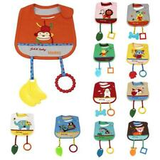 Cute Animal Cotton Toddler Infant Baby Bibs Saliva Pinafore with Teethers