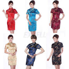 Chinese Charming Women's Dragon&Phoenix Print Cheongsam Mini Evening Dress Qipao