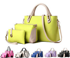 3 PCS Women Handbag Shoulder Bag Leather Messenger Hobo Bag Satchel Purse Gift
