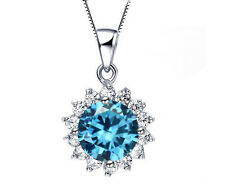 18K White Gold GP Austrian Crystal Blue Topaz Sunflower Pendant Necklace n74c