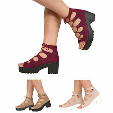 NEW WOMENS MID BLOCK HEEL CHUNKY PLATFORM LACE UP ANKLE BOOTS SANDALS SHOES SIZE