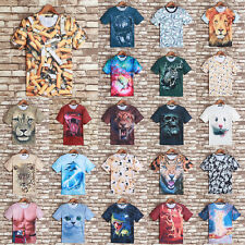 Animal 3D Printed Mens Womens Casual Short Sleeve Tops Tee Hip Hop T-Shirt