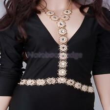 Crystal Crossover Ornaments Belly Waist Body Chain fashion women jewelry