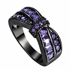 18K Purple Amethyst Criss Cross Wedding Band Ring Black Gold Filled Lady Jewelry