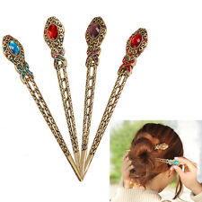 Vintage Rhinestone Flower Pendant Hair Stick Antique Charm Hairpin Lady