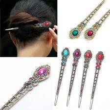 Vintage Rhinestone Flower Pendant Hair Stick Antique Charm Hairpin Ladies