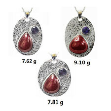 De Buman Ruby & Amethyst Solid 18KY Gold & 925 Silver Necklace (18-inch Chain)