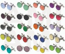 NEW SILKY SATIN CUFFLINKS IN 40 COLOURS & CUFFLINK BOXES WEDDINGS, WORK, GIFTS