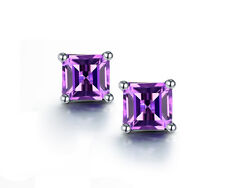 18K White Gold GP purple AAA CZ Zircon Austria Crystal Earrings Studs E540e