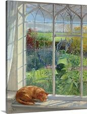 Sleeping Cat and Chinese Bridge by Timothy Easton Painting Print on Canvas