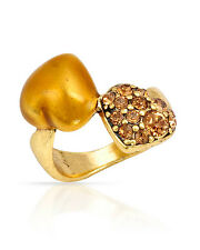 NEW PILGRIM SKANDERBORG, DENMARK 2-Heart Golden Crystal Ring