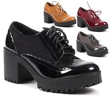 WOMENS LADIES NEW BLOCK HEEL OFFICE SCHOOL SMART FORMAL OXFORD BROGUE SHOES SIZE