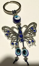 Evil Eye Key Ring or Car Charm Filigree Butterfly with hanging Evil Eyes