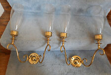 Pair Double Candle Brass Wall Sconce Hurricane Globes