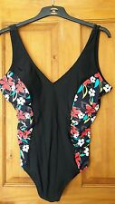 Neuf Rouge black and floral print swimming costume size 24