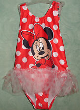 Disney Junior Minnie Mouse 1 Pc Swimsuit 4T 5T New NWT Red Polka Dots UPF 50+